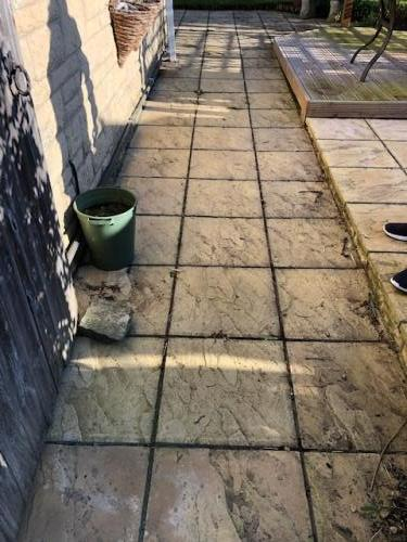 patio pressure washing before clean